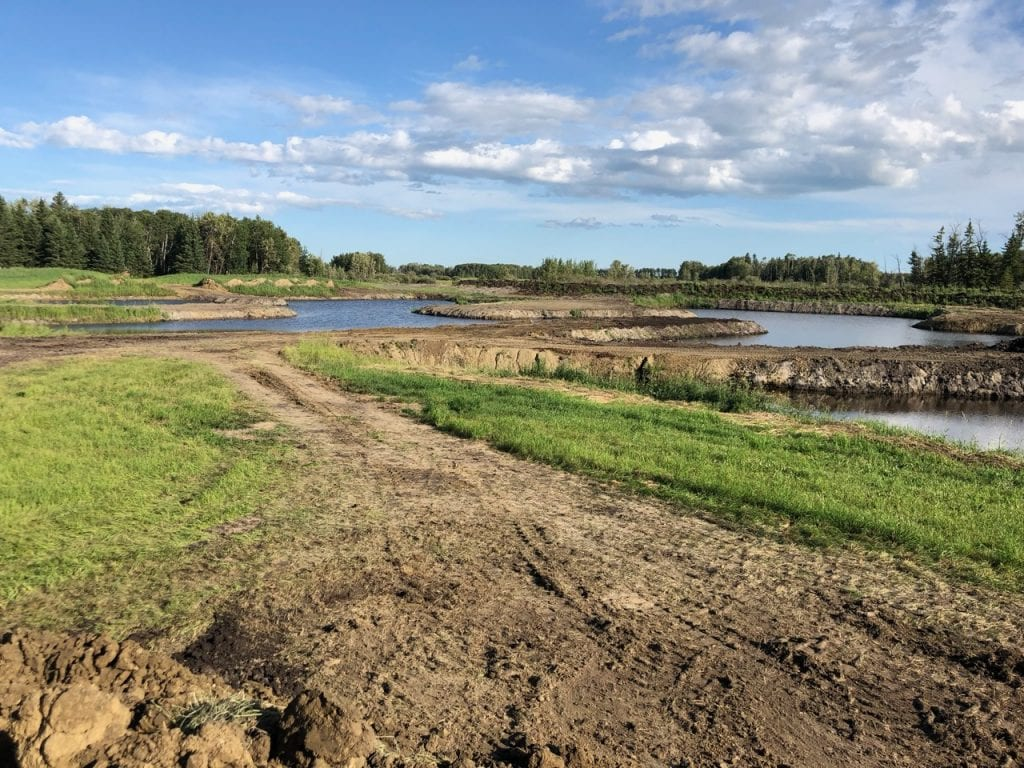 Land view with pools of water for Club Mead Labrador Retriever Training Grounds