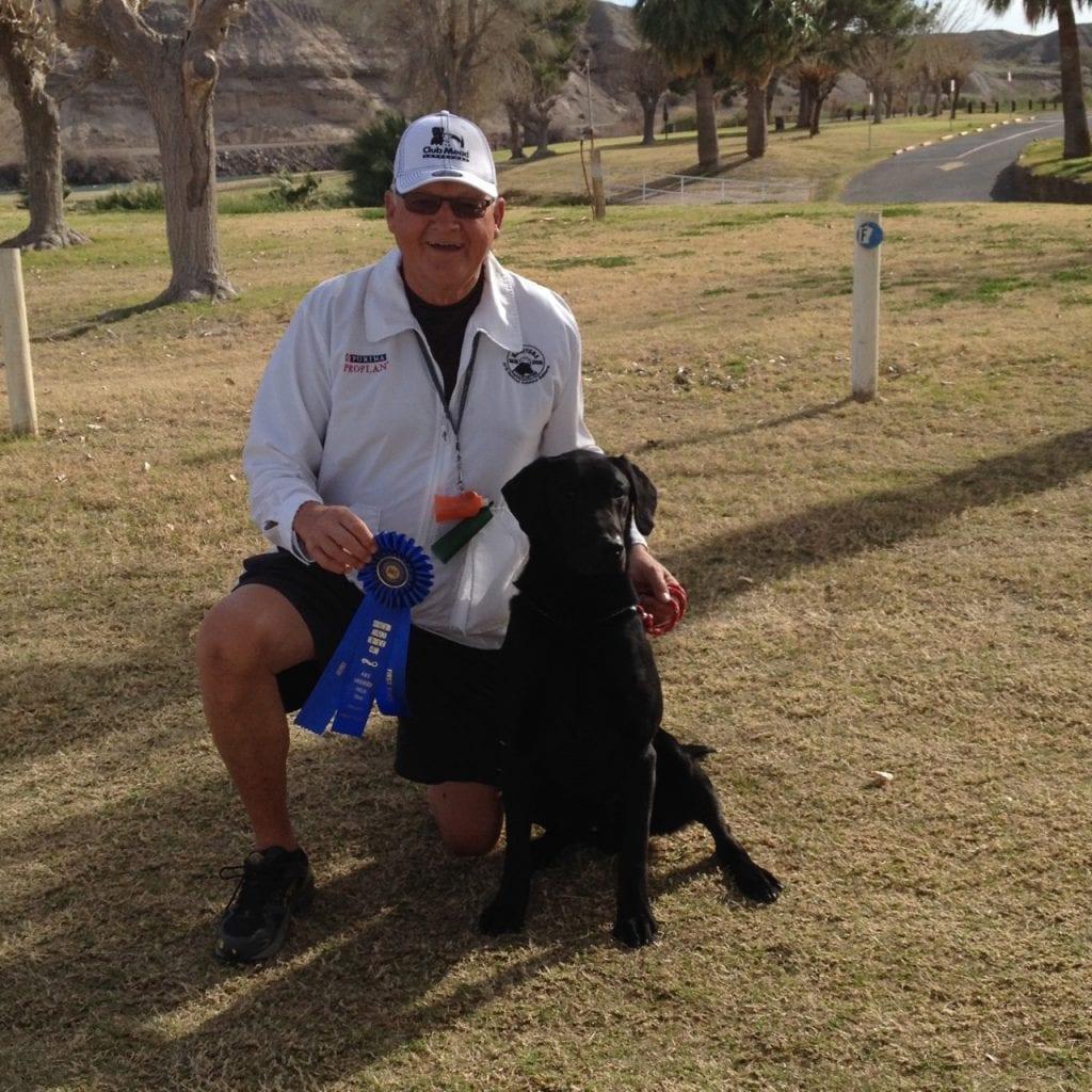 labrador retriever and man kneeling on grass with blue ribbon awards